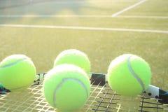 Tennis raquet and balls. Tennis racquet and tennis balls on a tennis court stock image