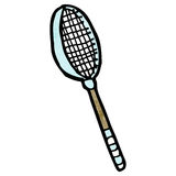 Tennis raquet cartoon. Retro cartoon with texture. Isolated on White Stock Images