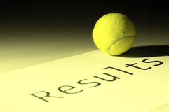 Tennis results. Tennis ball on a sheet with word results written on it stock photography