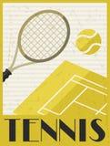 tennis Retro- Plakat in der flachen Designart Stockfotografie