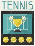 Tennis. Retro poster in flat design style Royalty Free Stock Images