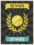 Tennis. Retro poster in flat design style Stock Images