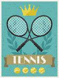 Tennis. Retro poster in flat design style Royalty Free Stock Photos