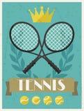 Tennis. Retro poster in flat design style Royalty Free Stock Photos