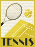 Tennis. Retro poster in flat design style.  stock photography