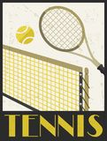 Tennis. Retro poster in flat design style Stock Photo