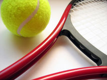 Tennis Scene. A tennis ball and racquet royalty free stock photos