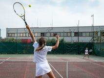 Tennis school outdoor Royalty Free Stock Image