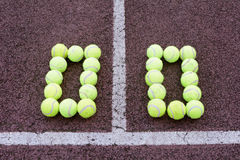 Tennis Score. 0-0 created using tennis balls on a hard court surface Royalty Free Stock Photography