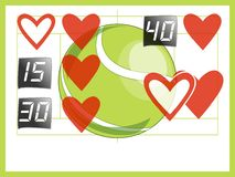 Tennis score love to match valentine Stock Photos