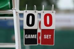 Tennis scoreboard. Old tennis board outdoor playground Stock Photo