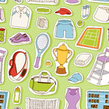 Tennis seamless pattern vector. Tennis seamless pattern vector athlete stylized patches icons. Champion training exercise fashion equipment background. Fitness Stock Image