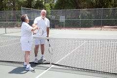 Tennis Seniors Handshake with Copyspace Stock Image