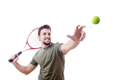 Tennis serve. Tennis player looking / Arabic latino over white with hard light Royalty Free Stock Image