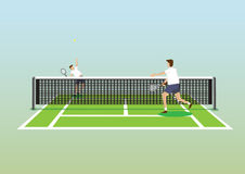 Tennis Serve in Tennis Court Vector Illustration Royalty Free Stock Images