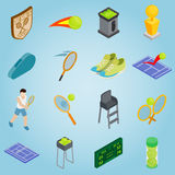 Tennis set icons, isometric 3d style. Isometric tennis icons set. Universal tennis icons to use for web and mobile UI, set of basic tennis elements vector Royalty Free Stock Image