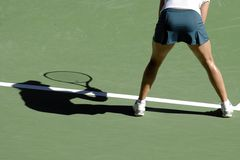 Tennis shadow 06. A shadow of a woman playing tennis on a court Royalty Free Stock Image