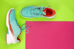 Tennis shoes in studio. Red, cyan, white pair of new tennis shoes in studio shot over green, purple background. Directly from above royalty free stock photography