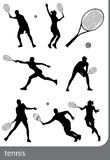Tennis silhouette set, isolated. Black on white background Royalty Free Stock Images