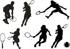 Tennis silhouette-vector Stock Photography