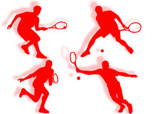 Tennis silhouettes Royalty Free Stock Image