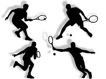 Tennis silhouettes Royalty Free Stock Photos
