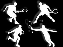 Tennis silhouettes Stock Images