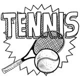 Tennis sketch. Doodle style tennis illustration in vector format. Includes text, racquet, and ball Stock Photo