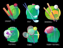 Tennis and soccer, rugby and baseball sports Royalty Free Stock Photography