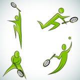 Tennis-Spieler-Ikonen-Satz Stockbild