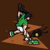 Tennis-Spieler-Karikatur mit dem großen Muskel Stockfotos