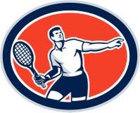 Tennis-Spieler-Schläger-ovales Retro- Stockbilder