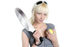 tennis sport blonde young beautiful girl Royalty Free Stock Photo