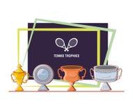 Tennis sport champions trophys. Vector illustration design Royalty Free Stock Images