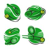 Tennis sport club racket and ball vector icons. Tennis sport club or championship game icons templates for fan club or sport team. Vector isolated labels or stock illustration