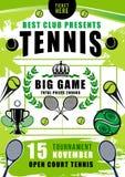 Tennis tournament, court, balls and rackets stock illustration