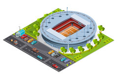 Tennis sport complex with open court stadium isometric Banner Royalty Free Stock Photography