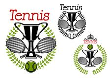 Tennis sport emblems with game items. Tennis tournament emblems with trophy cup silhouettes with crossed rackets, encircled by green laurel wreaths, tennis balls Stock Image