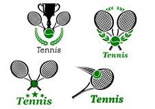 Tennis sport emblems. With sporting equipment ball, racket, trophy cup and laurel wreath Stock Photo