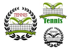 Tennis sport game icons and emblems. Tennis sport game icons or emblems with flying ball, laurel wreath and court net Stock Image