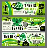 Tennis sport game school and tournament banners. Tennis sport game summer camp advertisement poster, training sport club or school. Vector green design of tennis royalty free illustration