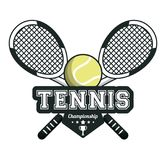 Tennis sport rackets crossed ball emblem image Royalty Free Stock Image