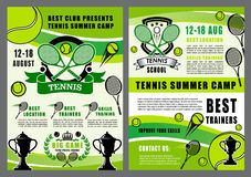 Tennis sport school, camp game tournament stock illustration