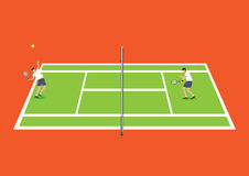 Tennis Sport in Tennis Court Top View Vector Illustration Royalty Free Stock Photo