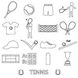 Tennis sport theme black outline icons set Royalty Free Stock Photos