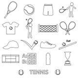 Tennis sport theme black outline icons set Royalty Free Stock Photos