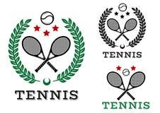 Tennis sportieve emblemen en symbolen Stock Fotografie