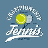 Tennis sports apparel with racket and ball. New York championship. Typography emblem for t-shirt. Design for athletic clothes. Tennis sports apparel with racket Stock Images