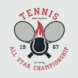 Tennis sports apparel with racket and fiery ball. New York all star championship. Typography emblem for t-shirt. Vector. Tennis sports apparel with racket and Stock Images