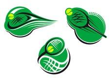 Tennis sports icons and symbols Stock Illustration